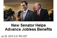 New Senator Helps Advance Jobless Benefits