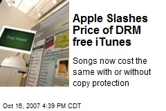Apple Slashes Price of DRM free iTunes