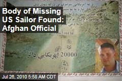 Body of Missing US Sailor Found: Afghan Official