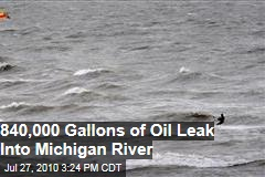 840,000 Gallons of Oil Leak into Michigan River