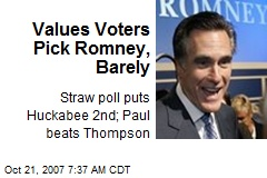 Values Voters Pick Romney, Barely