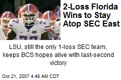 2-Loss Florida Wins to Stay Atop SEC East