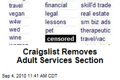 Craigslist Removes Adult Services Section